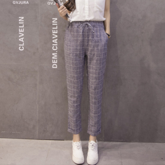 LOOESN Korean-style cotton linen spring New style harem pants women's pants (Blue-gray color)