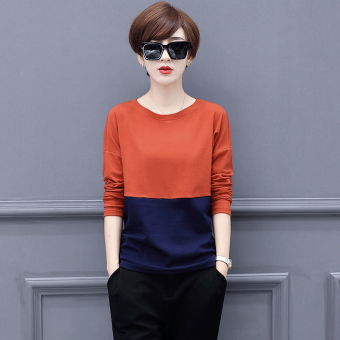 LOOESN Korean-style cotton New style slimming Top T-shirt (Orange blue)