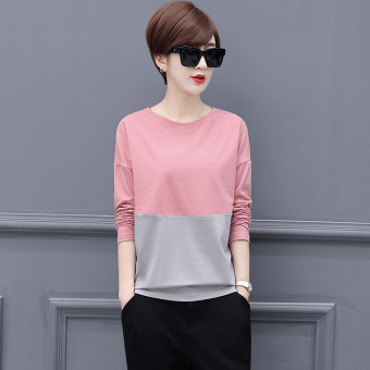 LOOESN Korean-style cotton New style slimming Top T-shirt (Pink gray color)