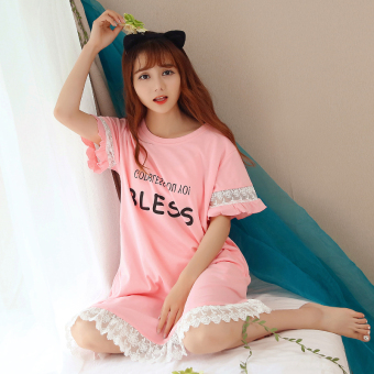 LOOESN Korean-style cotton Plus-sized short sleeved tracksuit pajamas (Pink)