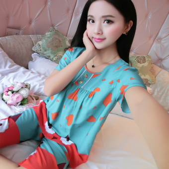 LOOESN Korean-style cotton silk female summer pajamas (Short sleeved cows green)