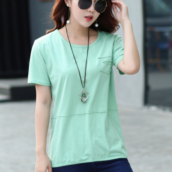 LOOESN Korean-style cotton solid color summer T-shirt Top (Light Green)