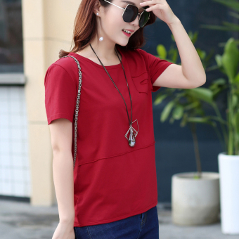 LOOESN Korean-style cotton solid color summer T-shirt Top (Red)