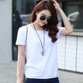 LOOESN Korean-style cotton solid color summer T-shirt Top (White)