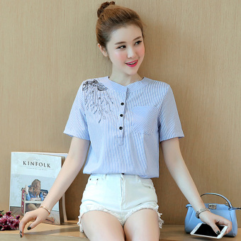 LOOESN Korean-style female embroidered Top striped shirt (Blue)