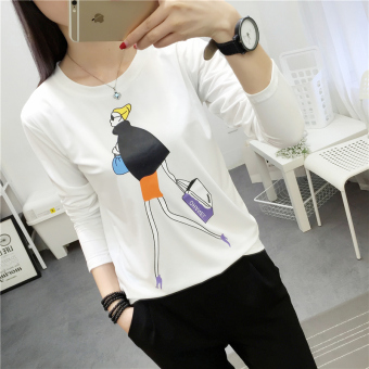 LOOESN Korean-style female high school students heattech female Top (313 * white)