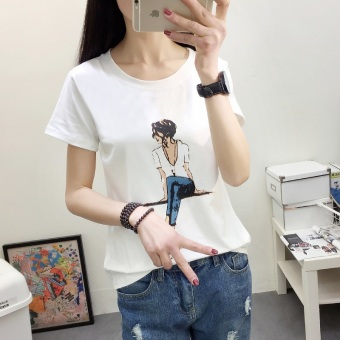 LOOESN Korean-style female high school students Plus-sized Top T-shirt (2330 (white) sitting girl's)