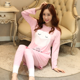 LOOESN Korean-style female long-sleeved tracksuit pajamas (Pink cat Head Eagle)