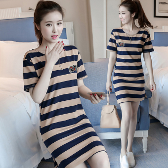 LOOESN Korean-style female mid-length striped dress (5820 casual blue striped)
