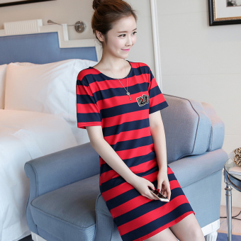 LOOESN Korean-style female mid-length striped dress (5820 Hong blue striped)