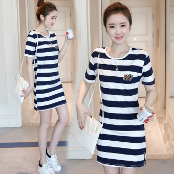 LOOESN Korean-style female mid-length striped dress (5820 white and blue striped)