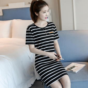 LOOESN Korean-style female mid-length striped dress (5831 black)