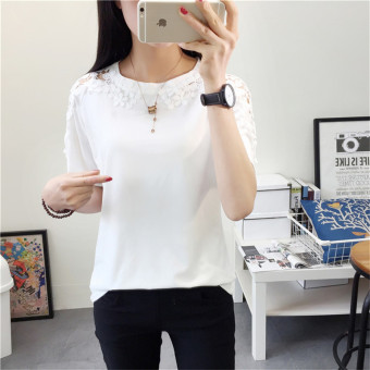 LOOESN Korean-style female New style crochet base shirt summer short sleeved t-shirt (White)