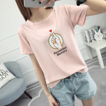 LOOESN Korean-style female Short sleeve student Top T-shirt (506-Lotus pink)