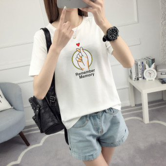 LOOESN Korean-style female Short sleeve student Top T-shirt (506-white)