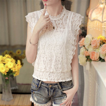 LOOESN Korean-style hook flower White porous Top lace shirt