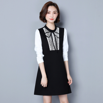 LOOESN Korean-style lace Thick Base dress