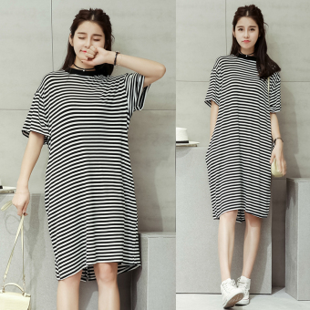 LOOESN Korean-style mid-length cross Striped t-shirt dress