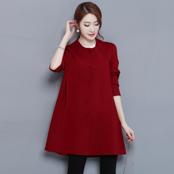 LOOESN Korean-style New style thick mid-length coat (Wine red color)