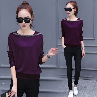 LOOESN Korean-style Plus velvet New style Plus-sized thick bottoming shirt (Purple [Spring thin])