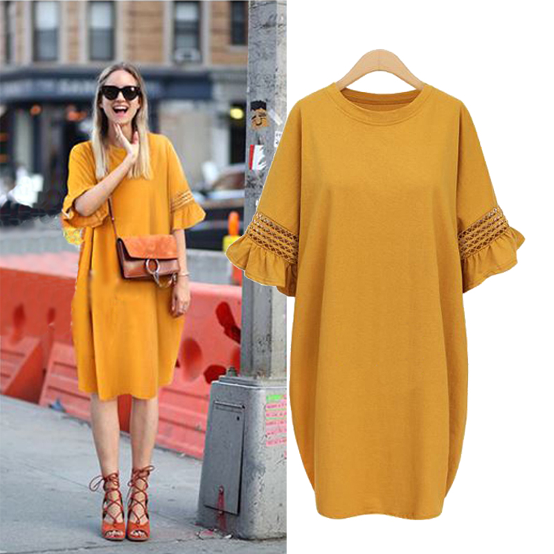 LOOESN Korean-style pregnant women's New style Plus-sized dress (Ginger yellow spot