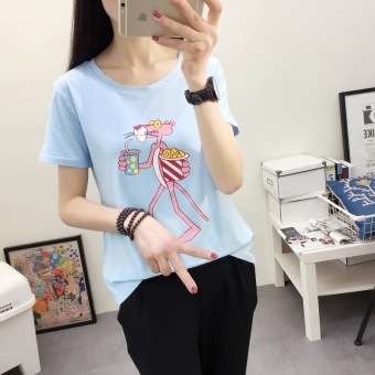 LOOESN Korean-style short sleeved t-shirt New style Female Summer (2335 (blue) naughty leopard)