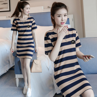 LOOESN Korean-style short sleeved t-shirt New style Female Summer (5818 brown blue striped)