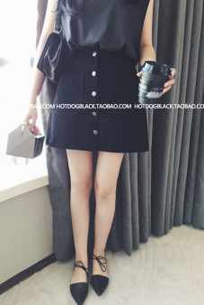 LOOESN Korean-style slimming student embroidered high-waisted half-length dress A-line dress (Black)