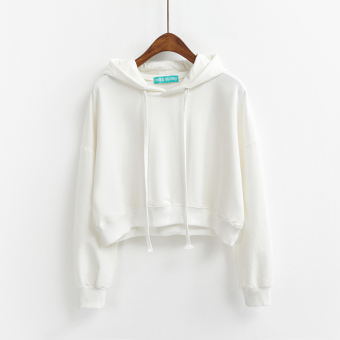 LOOESN Korean-style solid color female autumn Top New style hooded hoodie (Off-white color)