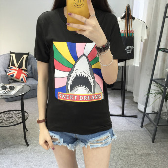 LOOESN Korean-style solid New style printed versatile short sleeved t-shirt (9103 rainbow VISHARK black)