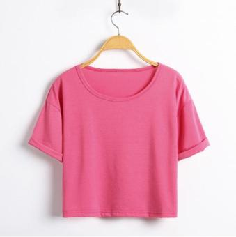LOOESN Korean-style solid student short sleeved t-shirt (Rose color)