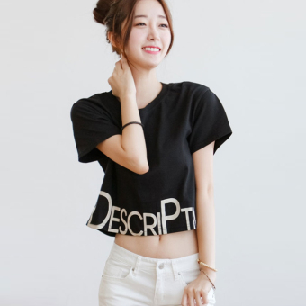 LOOESN Korean white T-shirt New style Female Summer (Black)