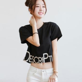 LOOESN Korean white T-shirt New style Female Summer (Black)