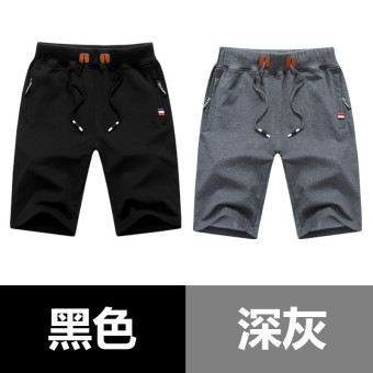 LOOESN large trunks thin summer pants casual I shorts (Black + dark gray)