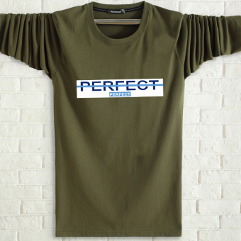 LOOESN men's cotton long-sleeved t-shirt (Dark green color PE)