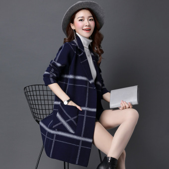 LOOESN mid-length striped plaid sweater cardigan (Blue)
