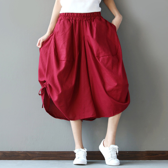LOOESN national style cotton linen solid color elastic waist divided skirt lantern pants (Red)