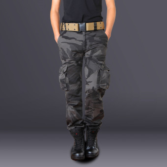 LOOESN Outdoor Men Plus-sized camouflage pants multi-pocket overalls (Battlefield fans multi-color)