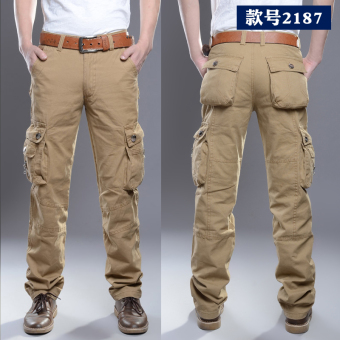 LOOESN outdoor Plus velvet wear and more with pockets work pants overalls pants (2187 khaki [to send canvas belt])