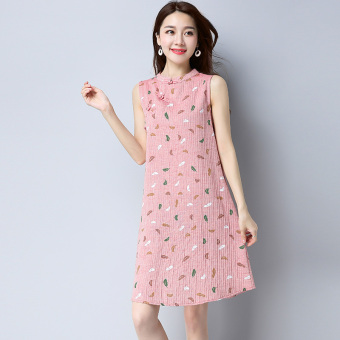 LOOESN retro cotton linen collar dress