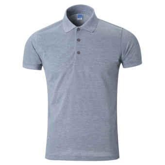 LOOESN solid men's short sleeve Fold-down collar T-shirt polo shirt (Gray)