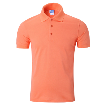 LOOESN solid men's short sleeve Fold-down collar T-shirt polo shirt (Light orange)
