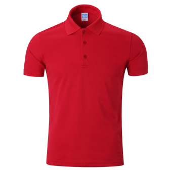 LOOESN solid men's short sleeve Fold-down collar T-shirt polo shirt (Red)