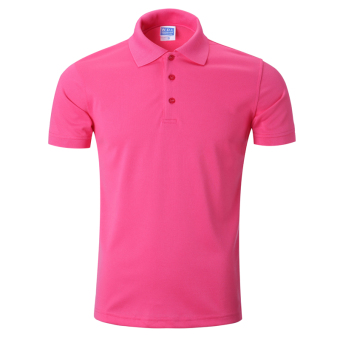 LOOESN solid men's short sleeve Fold-down collar T-shirt polo shirt (Rose)