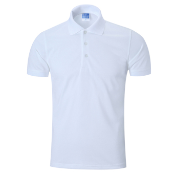LOOESN solid men's short sleeve Fold-down collar T-shirt polo shirt (White)