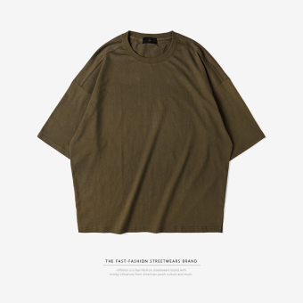 LOOESN solid three-quarter-length sleeve men Short sleeve T-shirt (Dark green color)