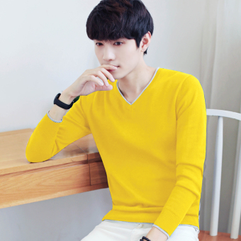 LOOESN Stylish cotton men thin bottoming shirt autumn long-sleeved t-shirt (Yellow)