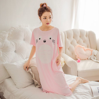 LOOESN summer women's Cotton Short sleeved pajamas (Totoro pink)