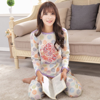 LOOESN sweet female long-sleeved cotton Plus-sized home clothes Korean-style pajamas (Rose long-sleeved women's)