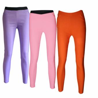Lookssy Plain Style Jeggings(PURPLE/PINK/ORANGE)SETof3
